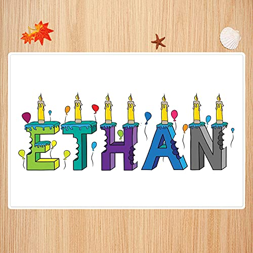 Bathroom non-slip mat 50 x 80 cm,Ethan,Celebration Themed Candles and Bitten Cake Popular Male Name Birthday Party Image,Multicolor, Super soft and absorbent bath carpet for bathroom