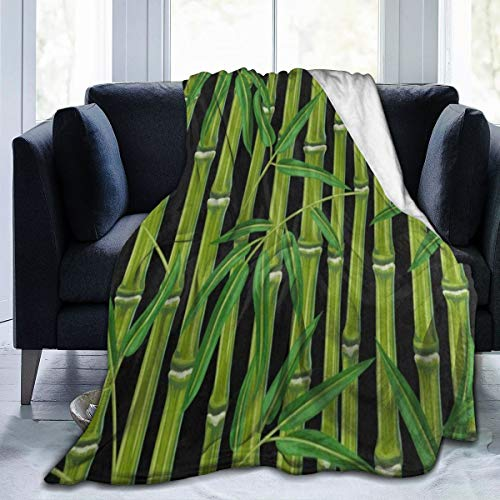SLHFPX Fleece Plush Throw Blanket Comforter Green Bamboo Plant Leaf Faux Fur Soft Cozy Warm Fluffy Lightweight Microfiber Fuzzy Twin Blanket for Bed Couch Sofa Chair Fall Nap Travel Camp Picnic 80'