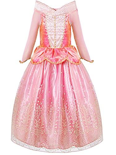 Funna Sleeping Princess Costume for Beauty Girls Dress up Pink, 6 Years