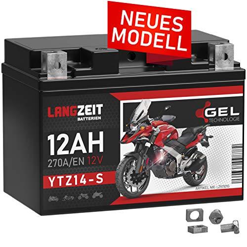 LANGZEIT YTZ14-S Motorradbatterie GEL 12V 12Ah 270A/EN YTZ14-4 GTZ14-4 GEL Batterie 12V doppelte Lebensdauer vorgeladen auslaufsicher wartungsfrei