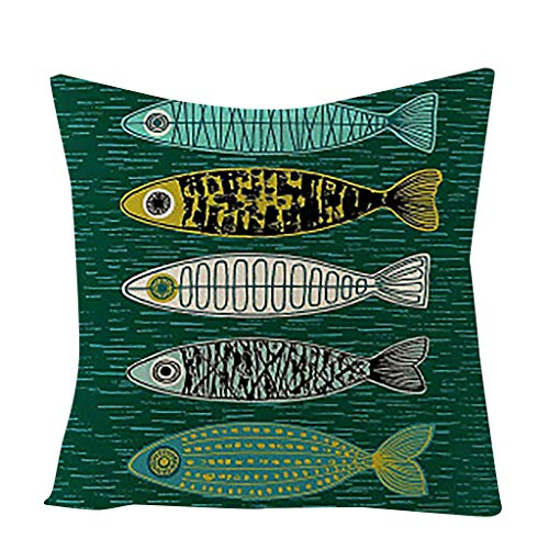 Winkey - Funda de almohada de lino y algodón para sofá, decoración del hogar, funda de almohada, cojín de asiento, cojín de espalda