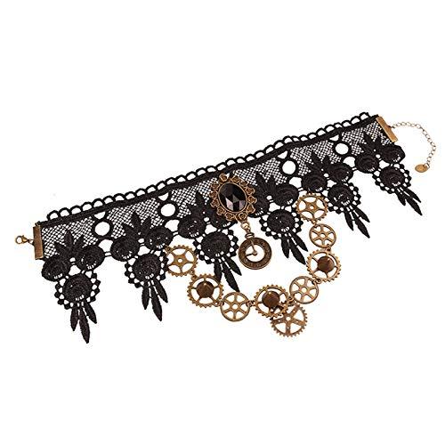 Myya Gargantilla Collar para Steampunk Halloween Punk Disfraz Fiesta Retro Engranaje Reloj Dentada Mujeres Gótico Negro Encaje Collares