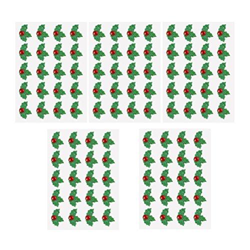 OULII Adesivi di Foglie di Agrifoglio di Natale Verde e Rosso Adesivi Decorativi di Natale Fai-da-Te 5 Fogli