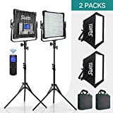 Switti 2 Packs 600 LED Video Light Lighting Kit, Dimmable Bi-Color 3000K-8000K CRI96+ LED Panel Light with U Bracket and 78-Inch Light Stand, for YouTube Video Photography Shooting
