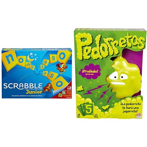 Mattel Games Scrabble Junior, Juegos de Mesa para niños + Pedorretas, Juegos de Mesa para niños