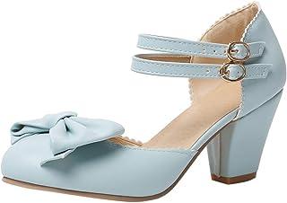 ELEEMEE Women Sweet Block Heel Sandals Bow