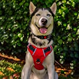 BABYLTRL Big Dog Harness No Pull Adjustable Pet Reflective Oxford Soft Vest for Large Dogs Easy Control Harness (L, Red)