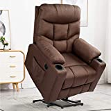 YODOLLA Electric Power Recliner Chair, Power Lift Recliner Sofa with Vibration Massage & Heat Function, Lazy Boy Recliner Chair with Side Pockets and Cup Holder, USB Ports, Brown