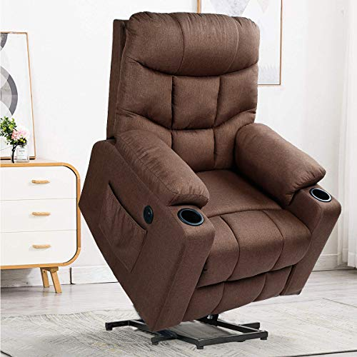 YODOLLA Electric Power Recliner Chair, Recliner Sofa with Massage & Heat Function, Lazy Boy Recliner Chair with Side Pockets and Cup Holder, USB Ports, Brown