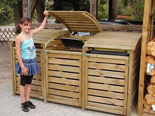 Mülltonnen-Box Mülltonnenverkleidung für 3 Tonnen inkl. Rückwand - 7