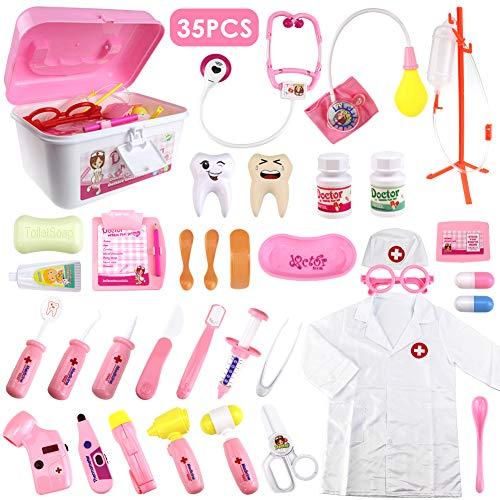 HERSITY 35 Stück Arztkoffer Kinder Medizinisches Spielzeug Doktor Set mit Licht Rollenspiele Lernspielzeug Geschenke für Mädchen Pink