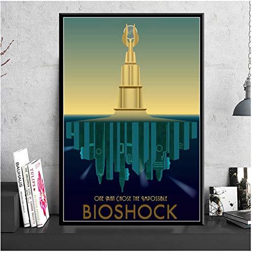 ad Poster und Drucke Bioshock Rapture Videospiel Retro Kinder Geschenk Poster Wandkunst Bild Leinwand Malerei Wohnkultur -50x70cmx1pcs - No Frame
