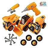 ToyVelt Construction Take Apart Trucks STEM Learning Toys, W Toy Drill - Dump Truck, Cement Truck &...