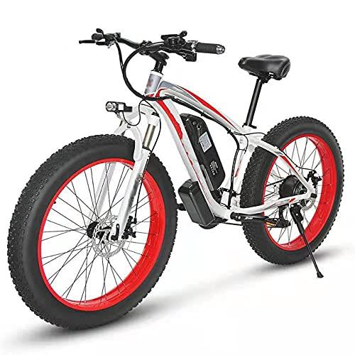 YIZHIYA Bicicleta Eléctrica, 26' E-Bike Fat Tire para Adultos, Frenos de Disco Delanteros y Traseros, Batería de Litio de 48V 10Ah, Ebike de montaña de 21 velocidades,White Red