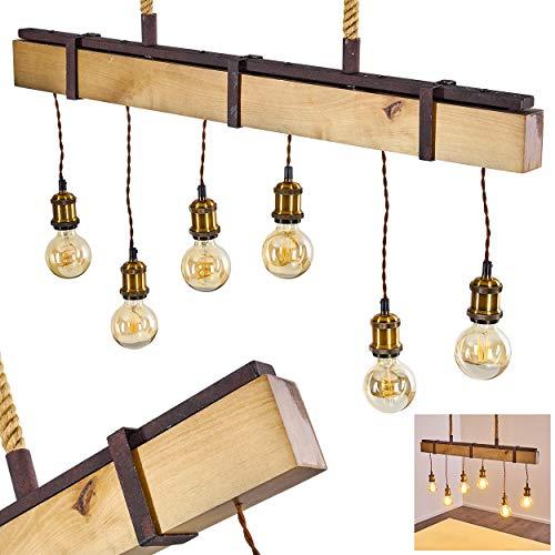 Pendelleuchte Rimforsa, Hängelampe aus Holz/Metall in Rost/Braun/Messing, 6-flammig, 6 x E27 max. 60 Watt, Höhe max. 163 cm (verstellbar), moderne Hängeleuchte im Retro/Vintage-Desgin, LED geeignet