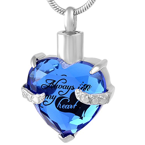 Eternal Harmony Heart Cremation Jewelry Urn for Ashes | Elegant Keepsake Urn Necklace with Stainless Steel Chain, Fill Kit and Beautiful Velvet Box | to Honor and Remember Your Loved One (Blue)