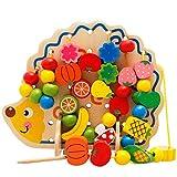 Dirgee Holzblock Große Perlen Kreative Set Wear Perlen Puzzle Threading Spielzeug - Großer Holzwald Tier Bausteine 82 Stück (Farbe: Mehrfarbig, Größe: 28x4x18.5cm)