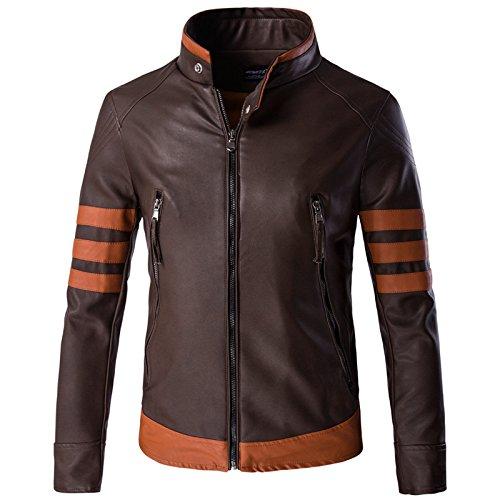 MAKAFJ Mens Motorradjacke aus Leder Mode Removable Jacke Lederjacke Schutz Racing Jacket Large Size Stehkragen Wolverine Same Absatz,Brown-XXXL