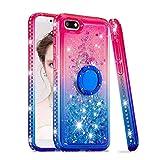 Cover per Huawei Y5 2018, Glitter Custodia con Anello Supporto Luxury 3D Brillantini Diamond Transparente Silicone Gel Morbida TPU Sabbie Mobili Protezione Bumper - Rosa Blu