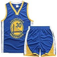 Sokaly Niños Chicago Bulls Jorden # 23 Curry#30 James#23 Conjunto de Camiseta de Baloncesto Chaleco & Pantalones Cortos Cómodo para Chicos y Hombres (M(120-130), Azul)