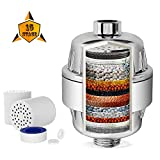 HiDu High Output Vitamin 15 Stage Shower Filter with 2 Replacement Cartridges, Reduce Impurities, Cleans and Purifies Chlorine, Shower Head Water Softener for Hard Water, Heavy Metals