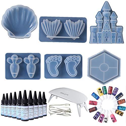 10 piezas de resina epoxi de cristal de 30 ml + 6 moldes de resina Castle Coaster, encantadora concha y rábano + 15 pigmentos de color con lámpara para hacer manualidades DIY