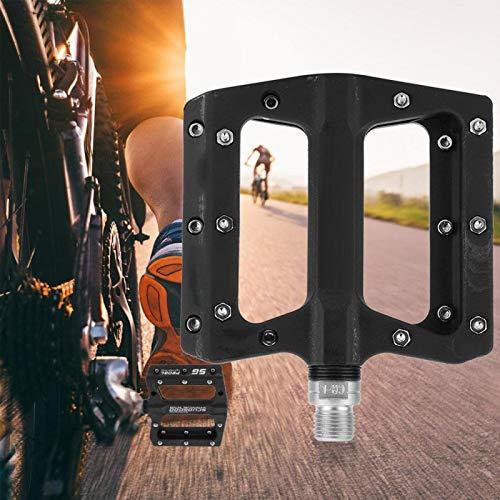DAUERHAFT 1 par de Pedales de Plataforma de Ciclo de Ciclismo más Estable, Duradero, Antideslizante, Gran área de Fuerza aplicada, para MTB BMX Mountain Road Bike(Black)