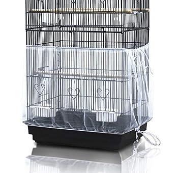 ASOCEA Jupe universelle de cage à perroquet en nylon pour attrape-graines de couverture de cage à oiseaux - Blanc (ne comprend pas la cage à oiseaux)