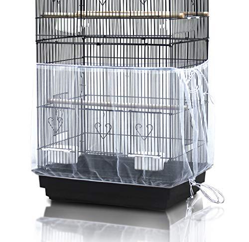 ASOCEA, Copertura universale raccogli semi per gabbie per uccelli, in rete di nylon, per pappagalli, colore bianco, circonferenza regolabile 200 cm, larghezza 40 cm, gabbia per uccelli non inclusa