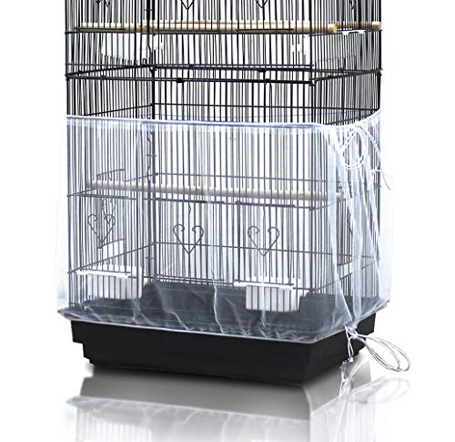 ASOCEA Universal Birdcage Cover Seed Catcher Nylon Mesh Parrot Cage Skirt White Adjustable Girth:78.7Inches/200cm Wide:15.7 inches/40cm(Not Include Birdcage)