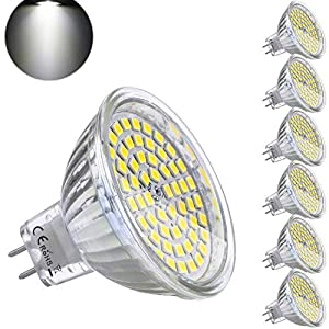 Bombilla LED GU5.3 MR16 12V 5W Blanco Frio Equivalente a Halogeno 35W Spot Luz GU 5.3 6000K Foco Ojo de Buey 450 Lumen No-regulable Ø50 x 48 mm Pack de 6