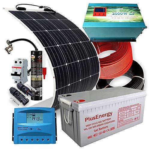 Kit Solar PlusEnergy 12V + Panel Solar Flexible 300W + Inversor Cargador 2.000W 35Ah + Batería Solar AGM(Especial Autocaravanas,Caravanas y Barcos)