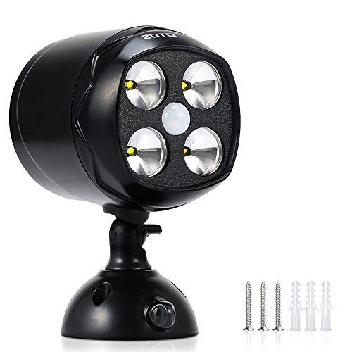 ZOTO LED Drahtloser Batteriebetriebener Strahler mit Bewegungsmelder,IP65 Wasserdicht Spot Wandleuchte Außen,600lm Super Helles Garten Sicherheit Lampe