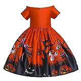 OBEEII Niñas Disfraces Halloween Vestidos de Calabaza Bruja Murciélago Fantasma Víspera de Todos los Santos Carnaval Cosplay Princesa Costume Naranja 6-7 Años