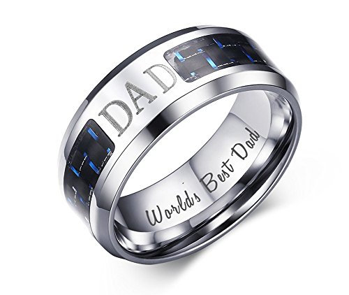 VNOX 8MM Stainless Steel World's Best Dad Inside Carbon Fiber Band Ring,Gift for Dad,Size 10