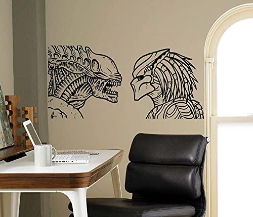 Ksnrang Alien vs depredador Pared Vinilo Pegatina película Pegatina de Pared Interior Interior Sala de Estar Dormitorio decoración decoración extraíble Pegatina 57x27cm