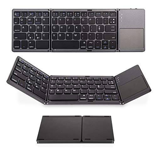 Multi-Device Bluetooth Keyboard - IKOS Portable Rechargeable Wireless Keyboard with Stand Holder, Ultra Slim Ergonomic Folding Keyboard,for OS iOS Android Windows Smartphone Tablet Laptop Mac (Black)
