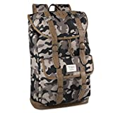 Benrus Drawstring and Flap Multi Pocket Scout Camo Backpack for Outdoors, Hiking, Camping, and Travel – For Men and Boys