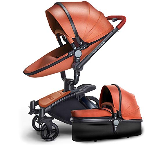 Read About SpringBuds Luxury Leather Baby Stroller Anti-Shock Pram Bassinet with Toddler Seat Combo-...
