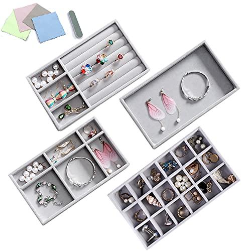 Organizador de bandejas para joyas, conjunto de 4 organizadores apilables para anillos, pendientes, collares, pulseras y separadores extraíbles, ideal para regalo, color gris, 212 x 125 x 25 mm