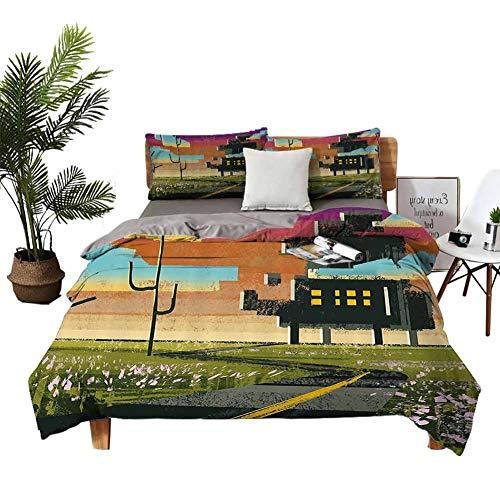 Juego de 4 fundas de almohada para cama de niñas con diseño de paisaje futurista y collage con efecto de pintura, en Cloud Boy Girl Kid Multi W104 x L90