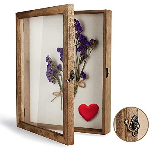 TJ.MOREE Caja de sombra con marco de 11 x 14 cm, con parte trasera de lino, recuerdos, medallas, fotos, caja de memoria para recuerdos