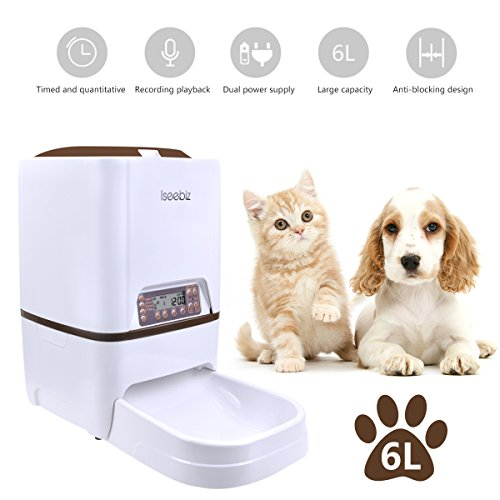 Automatic Cat Feeder,6L Automatic Pet Dog Feeder,Dogs Cats Food Dispenser with Timer and Meal Size,IR Detect,Voice Recorder Up to 4 Meals A Day for Medium Large Cats Dogs