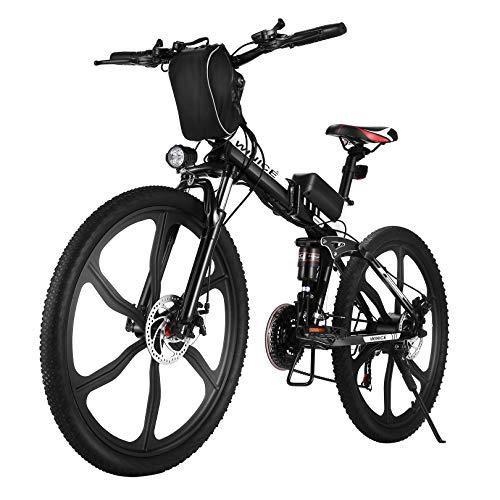 VIVI E-Bike Herren Elektrofahrrad, 26 Zoll Ebike Klapprad 350W Mountainbike Mit Herausnehmbarer 8Ah Batterie, Professionelle 21-Gang-gänge, Vollfederung