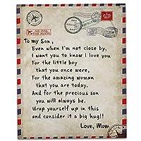 マンマから私の娘/息子に毛布を書く、ソフトコージー軽量耐久性のあるぬいぐるみブランケットをブランケット,Son,L