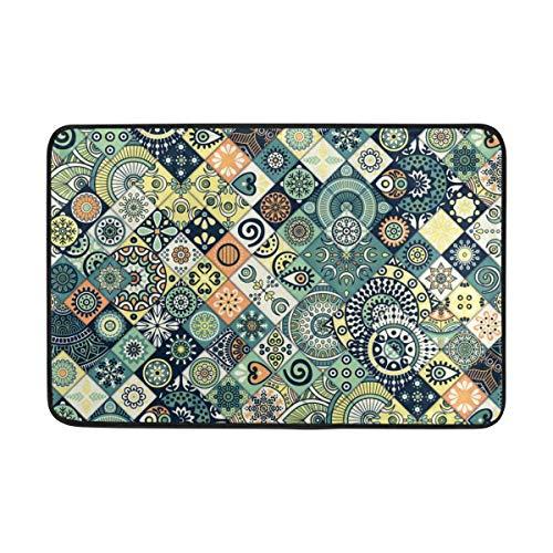 Joe-shop Alfombra de Entrada de medallón de azulejo de cerámica Mexicana de mármol Vintage Alfombra de Piso Alfombra de Sala de Estar 60x39 Pulgadas / 150x100cm RUG-430