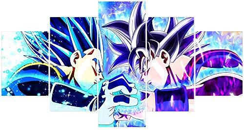Hunbeauty art Póster de Dragon Ball Z y Super Poster Saiyan Goku Impresiones sobre lienzo Anime Wall Art Cuadros Decoración Dormitorio Sin Marco