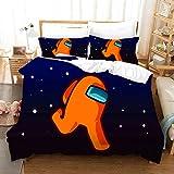 QWAS Among US - Juego de cama 3D (200 x 200 cm, 4 tamaños en total, 1 funda nórdica de 135 x 200 cm y 2 fundas de almohada de 50 x 75 cm) (X01, 200 x 200 cm + 80 x 80 cm)