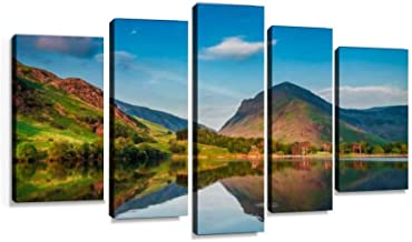 Beautiful sunset at District Lake in UK Modern Art Painting set Digital Print Picture on Canvas Framed Artwork Wall Decor Living Room Office Bedroom 5 Pieces