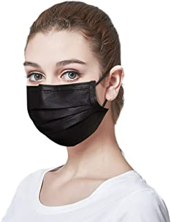 LUXSENZ Black Disposable Face Masks Breathable Dust Mask with Stretchable Earloops Black Face Mask, Pack of 50